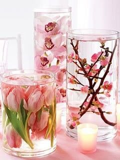 Distilled Water + Silk Flowers + Dollar Store Vases, beautiful centerpieces indeed.. :): Cherries Blossoms, Flowers Centerpieces, Dollar Stores, Silk Flowers, Shower Centerpieces, Flowers Vase, Diy Wedding, Diy Centerpieces, Center Pieces