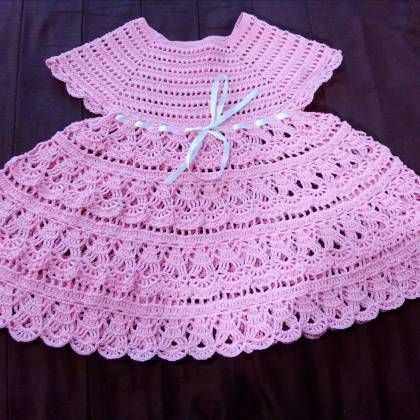 PDF Pattern - Handmade pink crochet summer girls dress, in different sizes, written in English, with pictures of the proccess of crocheting