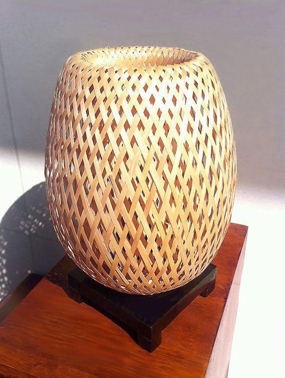 Lampe De Chevet En Bambou Tresse Double Peaux Avec Variateur