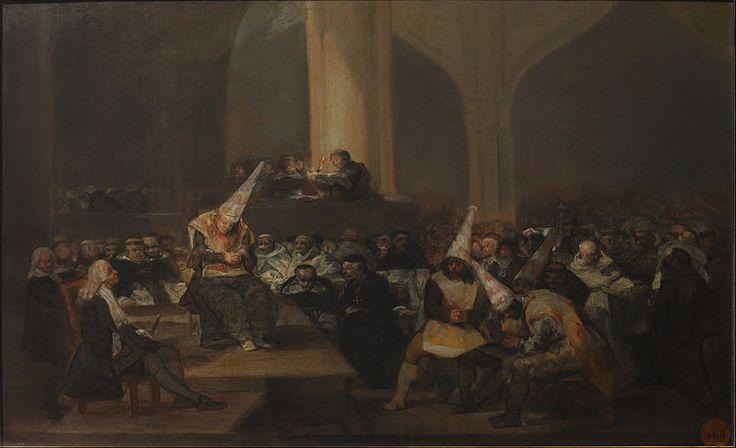 Auto de fe de la Inquisición (también llamado Tribunal de la Inquisición) es un óleo sobre tabla de pequeño formato que pintó Francisco de Goya entre 1812 y 1819 y que representa un Auto de fe, o acusación por delitos contra la religión católica, del tribunal de la Inquisición española que se celebra en el interior de una iglesia. Varios reos encorozados y en actitud sumisa son sometidos a un proceso ante la presencia de numeroso público.  l cuadro pertenece a una serie en la que figuran…