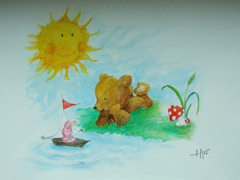 Acrylic painting for small child.  Bear and its sailor bunny friend.
