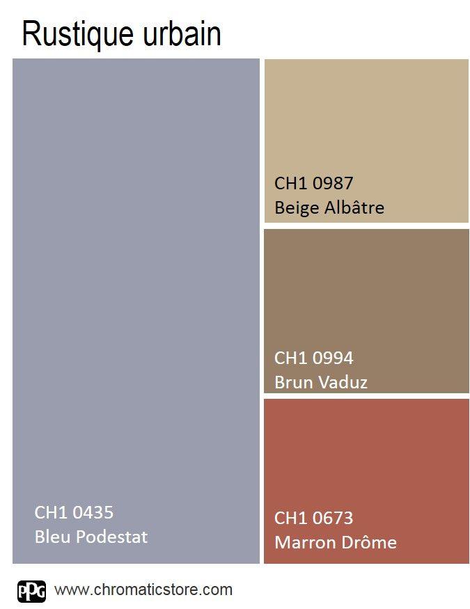 Le Bleu #Podestat forme la base de la palette. On y associe des tons de #bois et de #brique pour le côté campagne. www.chromaticstore.com