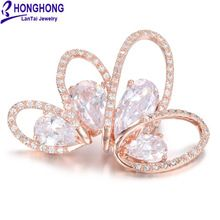 HONGHONG High Quality CZ Flower Crown Brooches Pins For Women Plant Brooch Wedding Dress Jewelry Accessories Free Shipping(China (Mainland))