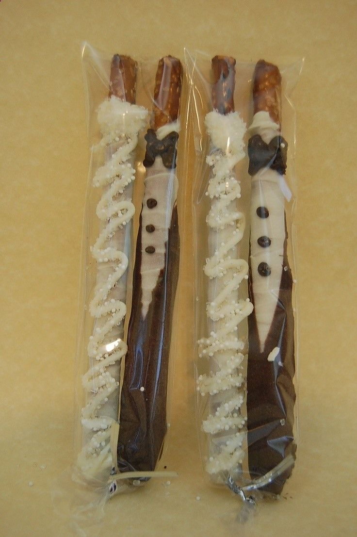 BRIDE and GROOM chocolate covered PRETZEL rods wedding favors bridal shower custom made. $14.00, via Etsy.