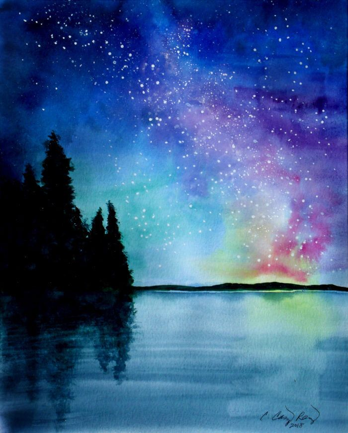 Night Sky Lake Art Print Starry Milkyway Galaxy From Etsy Night Sky Art Watercolor Night Sky Galaxy Painting