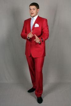 Стильный тёмно-красный мужской костюм-двойка рубашка галстук с брошью