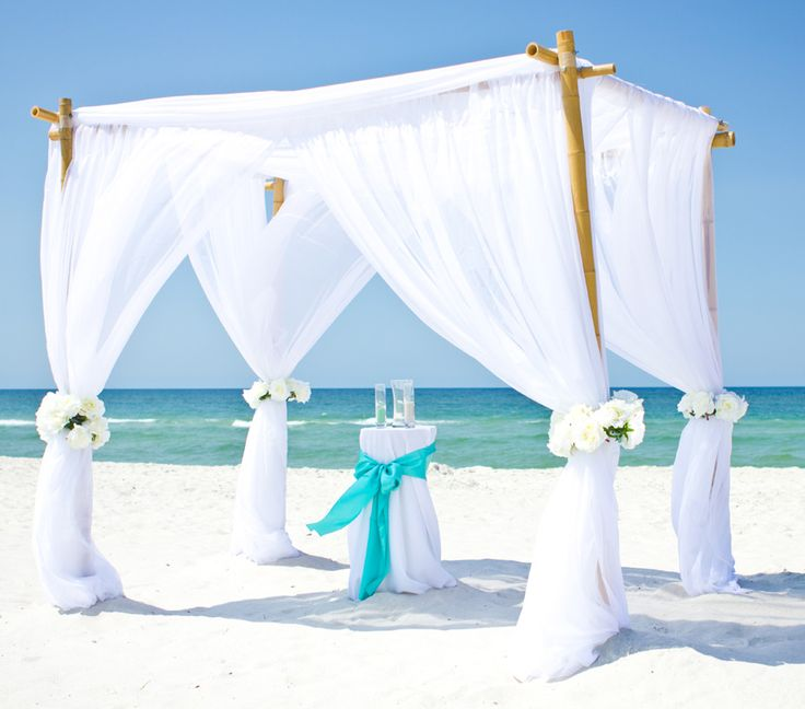 bamboo arbor with white chiffon beach wedding gin destin florida