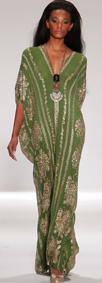Kaftan gown by NAEEM KHAN (NEW YORK FASHION WEEK : RTW SPRING 2011). More from this line at: http://wendylady2.livejournal.com/79291.html?thread=2276795