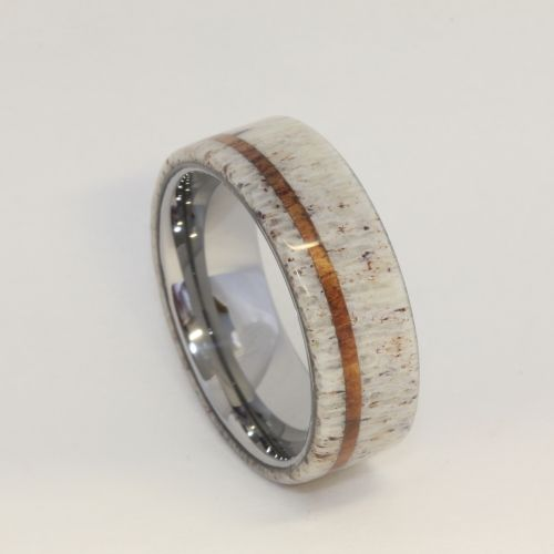 Deer Antler with Oak Pinstripe Titanium Ring - Wow this would be the coolest man's wedding ring ever.