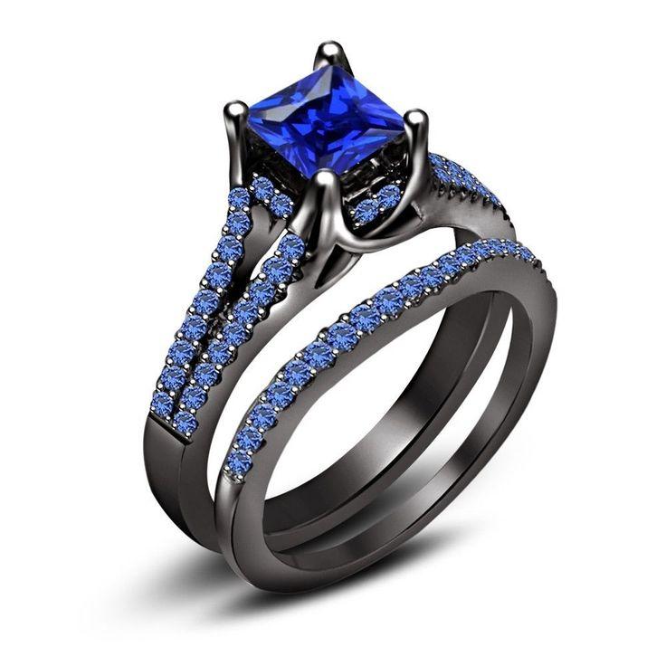 Princess Cut 325 Ct Blue Sapphire Black Rhodium Over 925 Silver Bridal Ring Set