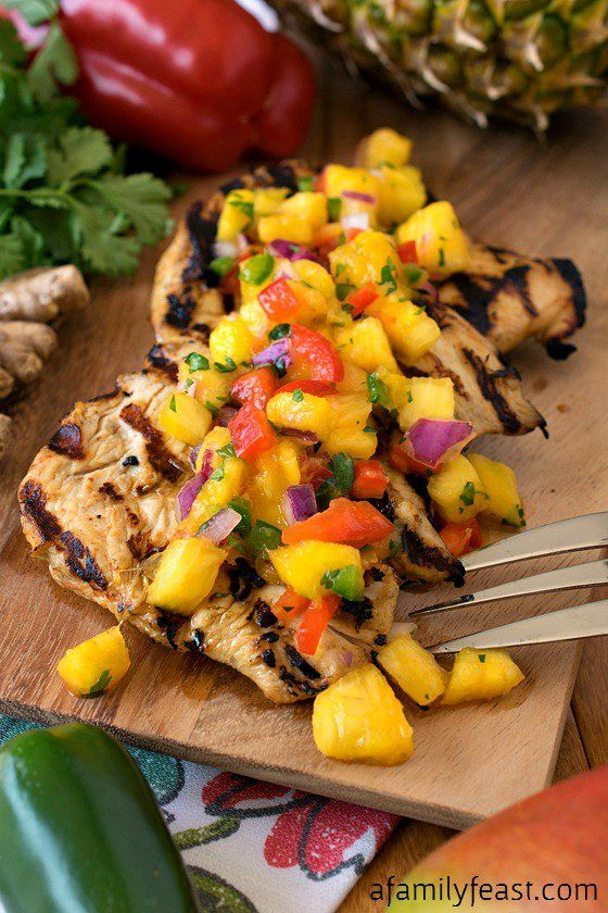 Grilled Marinated Chicken with Tropical Salsa - Perfect for summer barbecues…