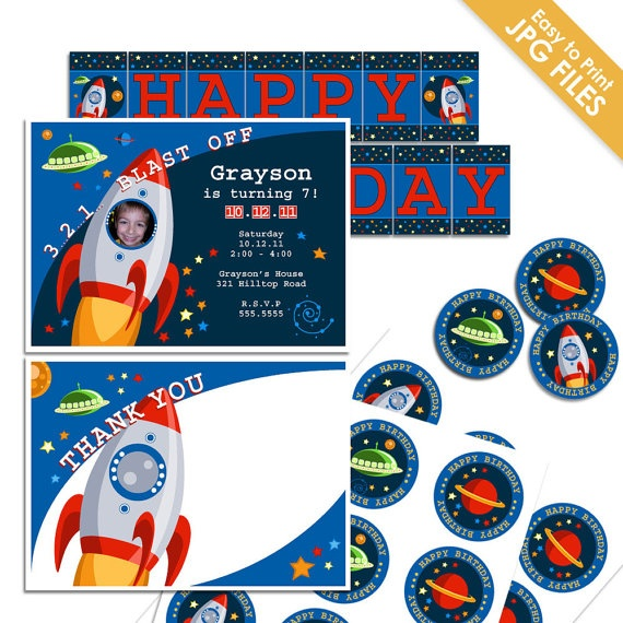 Birthday Party Package  Outer Space Theme  by papertreehousestudio, $18.00