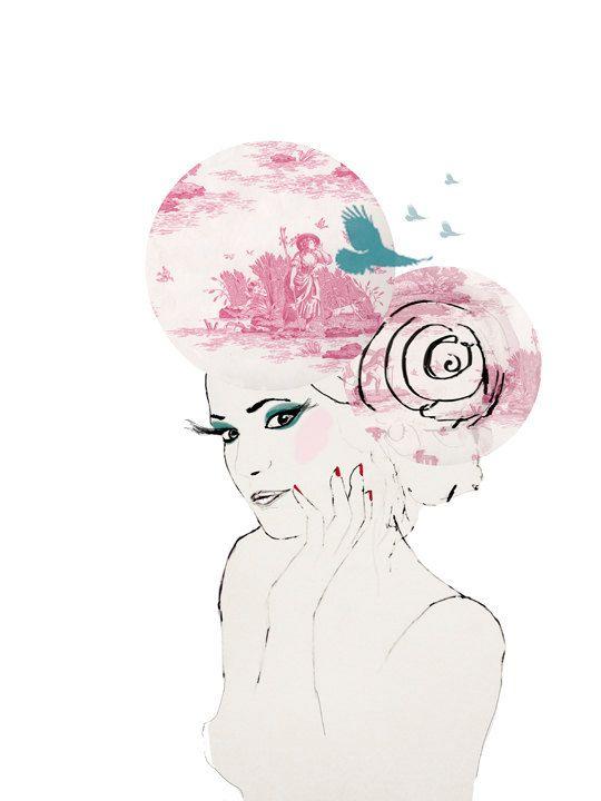 Fashion Illustration print pink portrait big hair wallpaper collage by Lola Donoghue via Etsy.