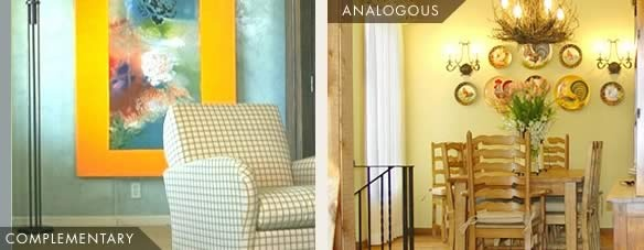 analogous colors are more muted and restful - used for bedrooms, family rooms and dens. complimentary colors are more formal- living rooms and dining rooms