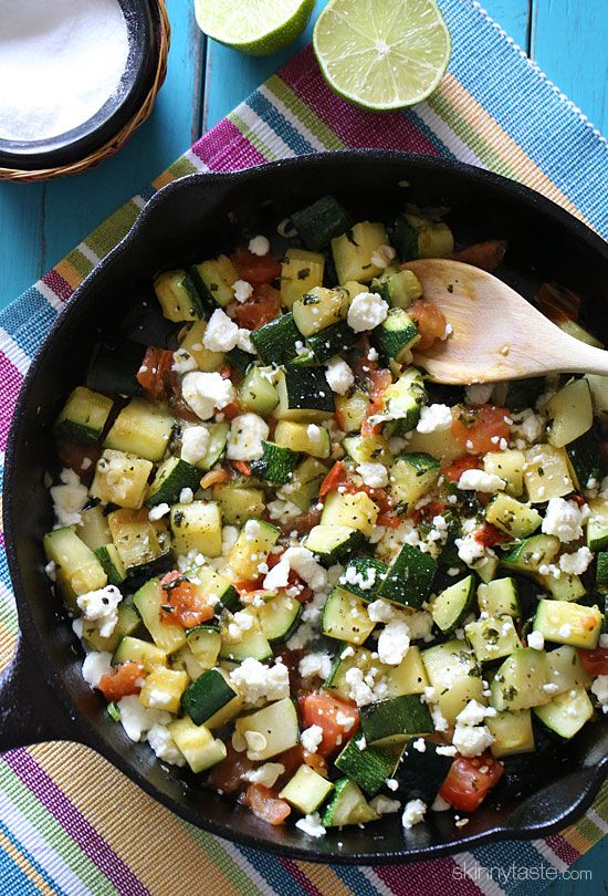 Skillet Mexican Zucchini - incredibly delicious with a little bit of a Mexican kick from the jalapeno, lime juice, cilantro and melted queso blanco. #glutenfree #meatlessmondays #vegetarian #weightwatchers #cleaneats #lowsodium #paleo (if u leave out the cheese)