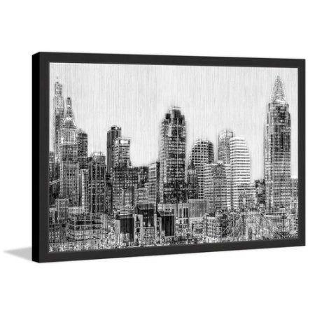 Cincinnati Skyline Framed Painting Print, Beige