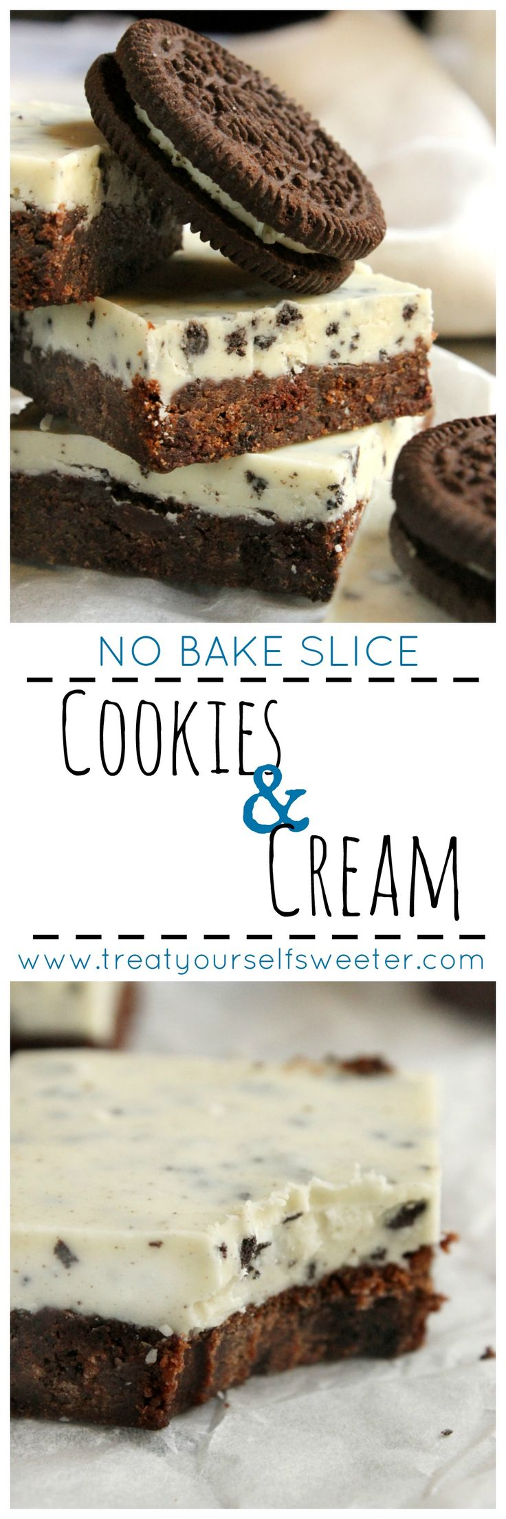 Easy No Bake Cookies and Cream Slice; Chocolate crunchy cookie base with a…