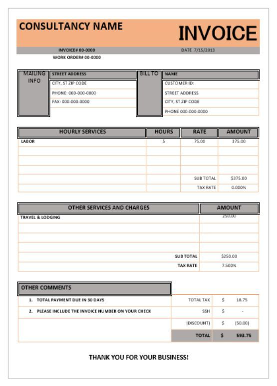 Best Consulting Invoice Template Images On