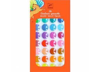 verfdoos met 36 kleurrijke 'gouache' pastilles