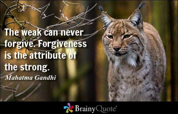 The weak can never forgive. Forgiveness is the attribute of the strong. - Mahatma Gandhi  Click on the image to see some of the quotes from Ghandi