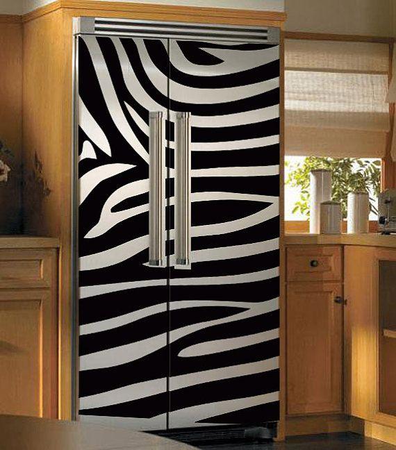 zebra fridge decal. <3