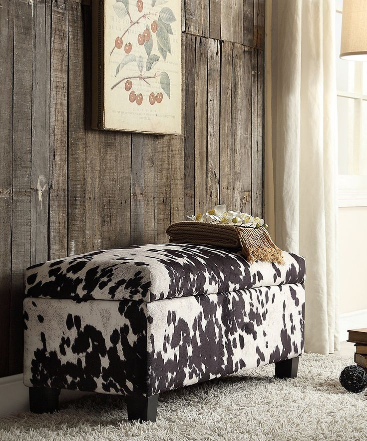 Black Cowhide Fabric Storage Ottoman | zulily, HomeBelle