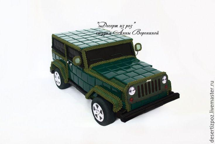 Купить Машина из конфет Джип - тёмно-зелёный, джип, джип из конфет, джип из шоколада
