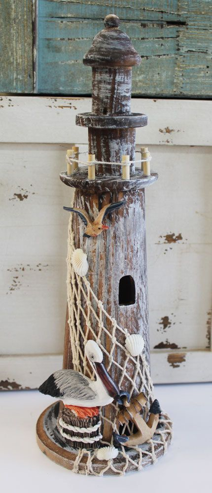 "Nautical Wood 14"" Lighthouse with Pelican - Coastal Light House Decor - California Seashell Company"
