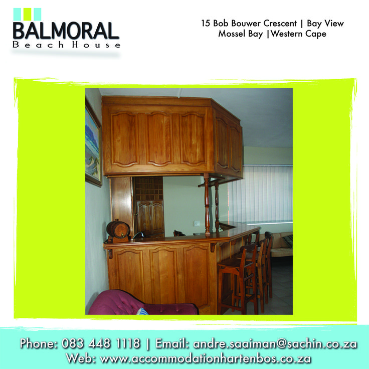 You will have a wonderful time when staying with us. Call us at: 083 448 1118 E-Mail: andre.saaiman@sachin.co.za #accommodation #Hartenbos #bar