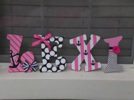 Hand Painted Personalized Wooden Letters Pink Navy by KraftinMommy