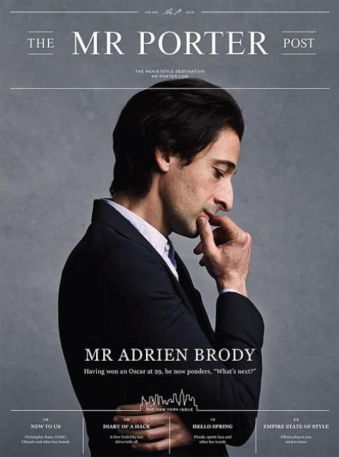 "Adrien Brody stars newest cover Mr. Porter:""The Men's Style Destination""Shot by Blair Getz Mezibov. More"
