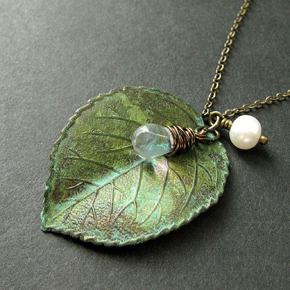 Leaf necklace with verdigris patina.