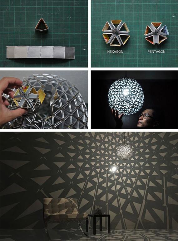 Reciclado creativo de materiales de deshecho.  Hoy te traemos una manualidad que combina a la perfección el reciclado y la creatividad, obteniendo un resultado increíble.  Visita nuestro blog y mira cómo puedes hacer una lámpara de techo con tetra-packs y que, además, proyecta unos juegos de sombras alucinantes.  http://bricoblog.eu/lampara-de-techo-reciclando-envases