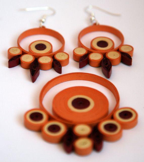 conjunto broches y pendientes papel / Zarzillos - Artesanio
