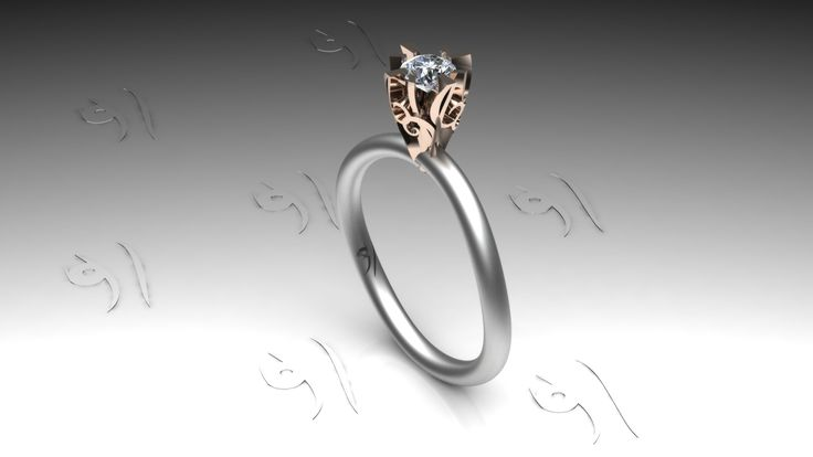 Unique Whitegold ring with rosegold romantic setting with diamond