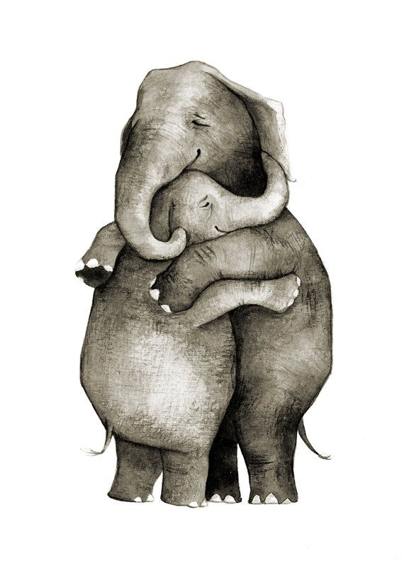 Elephant Hug - Love - Original Illustration Print
