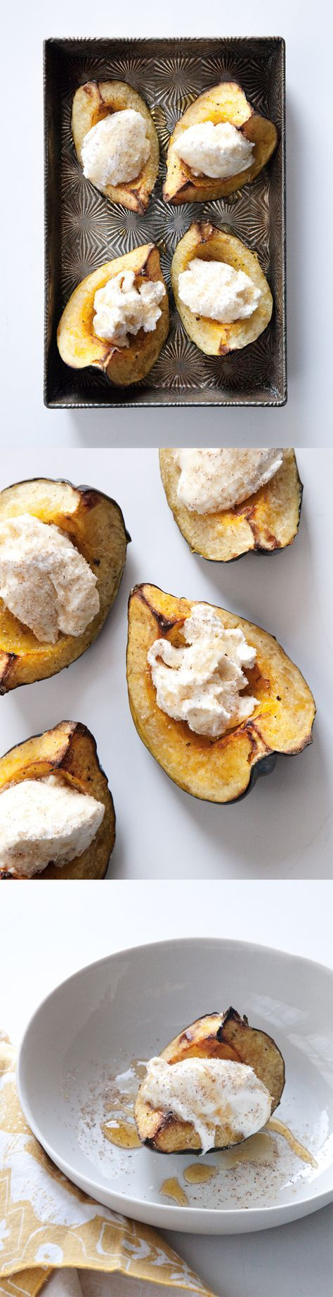 Roasted acorn squash with ricotta and honey. Three things I have in my house right now!