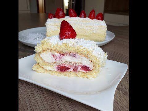 Beyaz Pandispanyalı - Çilekli Rulo Pasta Tarifi - Leyla ile Yemek Saati - YouTube