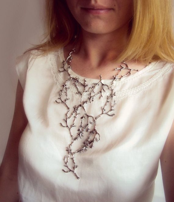 Statement Twig Necklace, Branch Necklace, Cascading Twig Necklace, Nature Jewelry, Woodland, Forest Jewelry, Metal Bib Necklace, Long Bib