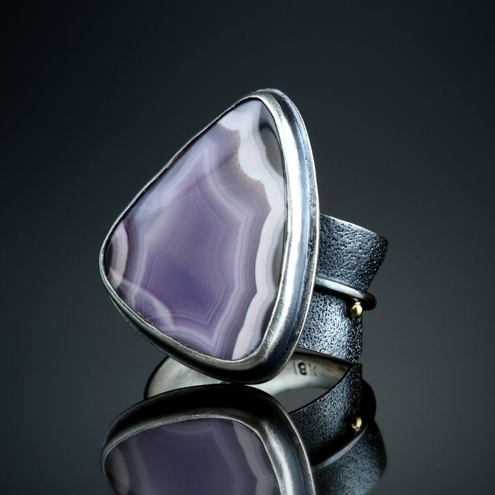 Laguna Agate Ring. Fabricated Sterling Silver and 18k. www.amybuettner.com https://www.facebook.com/pages/Metalsmiths-Amy-Buettner-Tucker-Glasow/101876779907812?ref=hl https://www.etsy.com/people/amybuettner http://instagram.com/amybuettnertuckerglasow