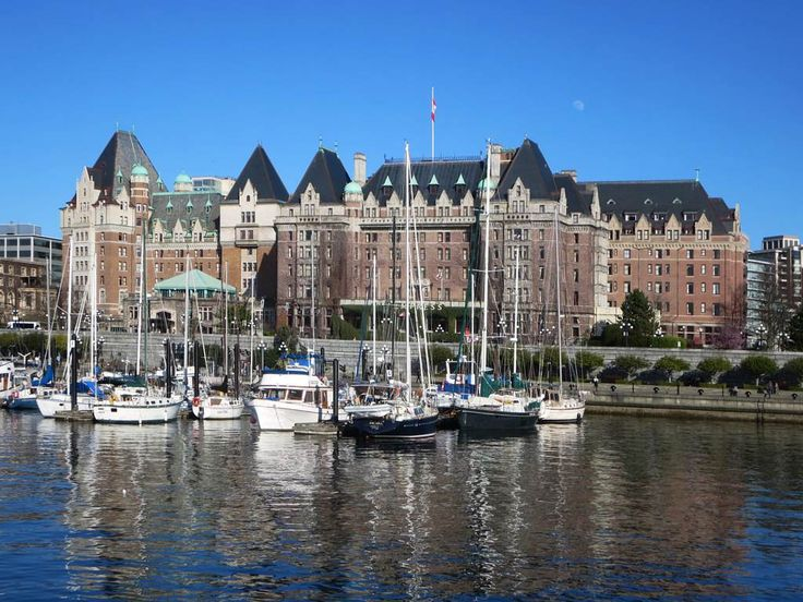 Erected in 1908, the Fairmont Empress Hotel overlooks the Inner Harbour at Victoria, British Columbia, Canada.