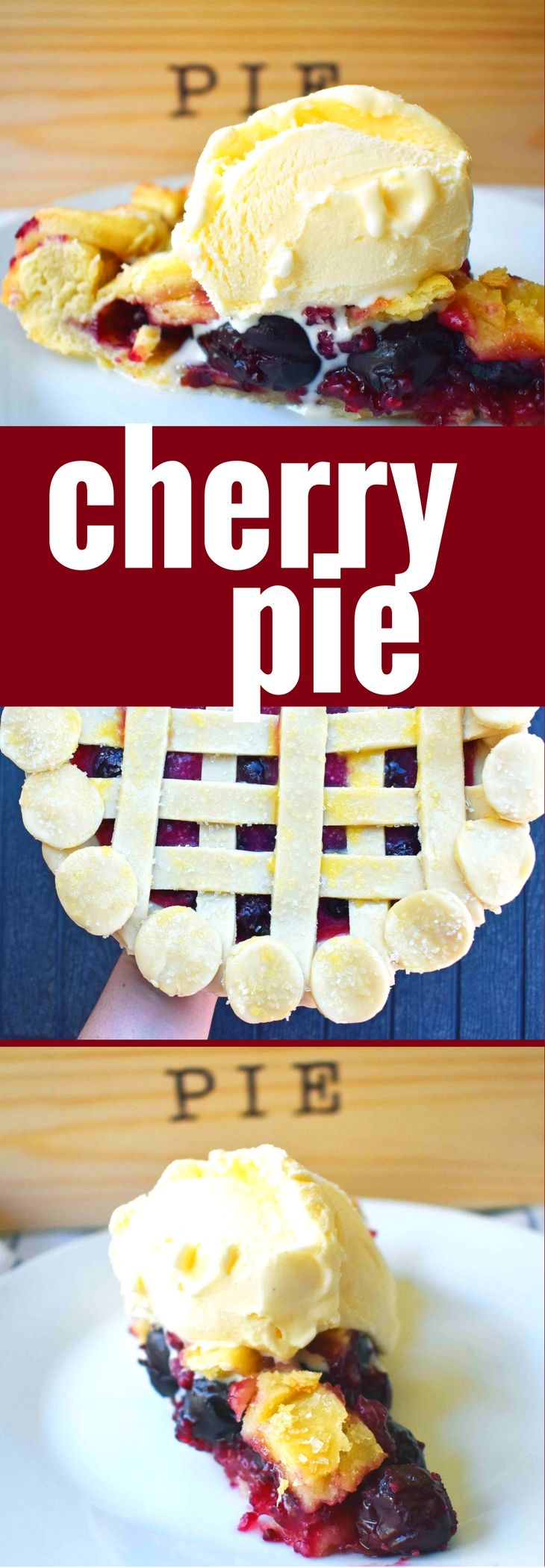 Classic Cherry Pie recipe made with homemade perfectly sweetened cherry pie filling and a buttery, flaky pie crust. It's the perfect cherry pie for the Thanksgiving table.