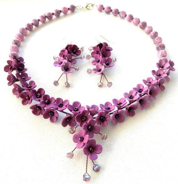 Ensemble de bijoux de mariage bijoux Violet fleur par insoujewelry