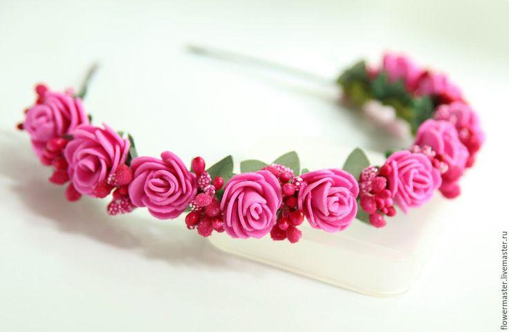 Купить Веночек-ободочек с цветами - розовый, любые цвета, розочки, из фоамирана, ободочек, дочке, сестре