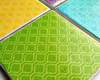 Ka'hawa Drink Tile Coasters with Arabesque Print