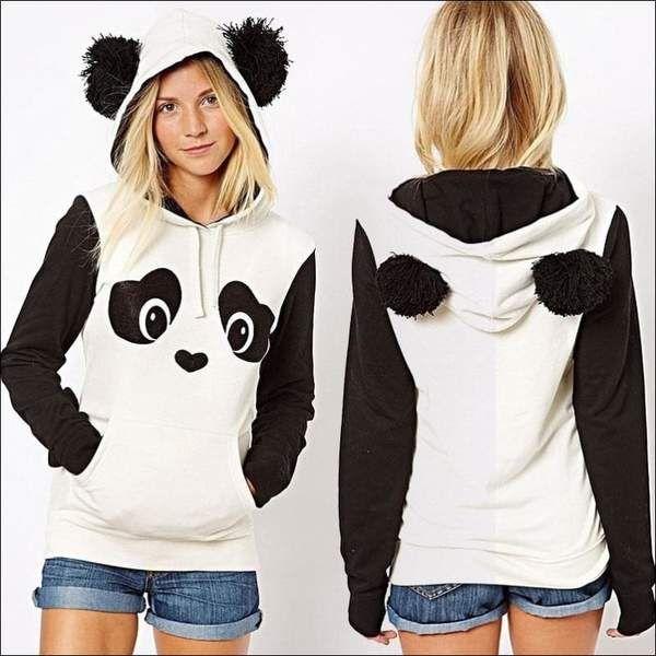 Women Fleece Embroidery Cat Ear Plus Size Hoodie Shirt Pocket Top Sweater Blouse