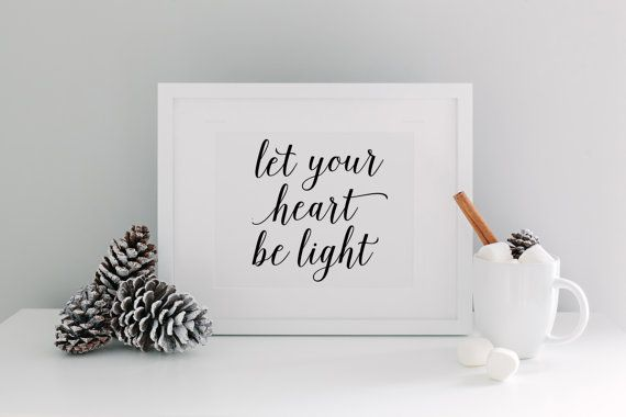 Let Your Heart Be Light Calligraphy - DIY Printable Christmas . What puts the merry in your Christmas? Is it the snowman on your neighbor's lawn? The scent of cinnamon apple cider wafting through the house? The carolers at your door? However you choose to make merry, spread the sentiment with a Merry and Bright quote for your wall.  • Decorate your space in minutes! • Three print sizes included. • Includes Horizontal & Vertical Orientations. • Download, Print and Frame. • Convenient and…