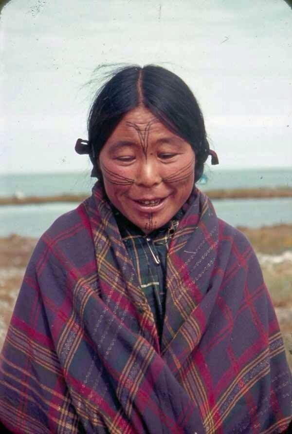 Aleutian (unangan) woman with traditional facial tattoos