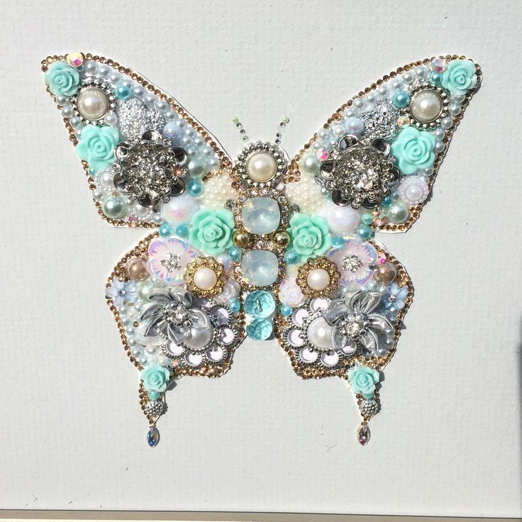 Recycled jewellery button art and mixed media butterfly