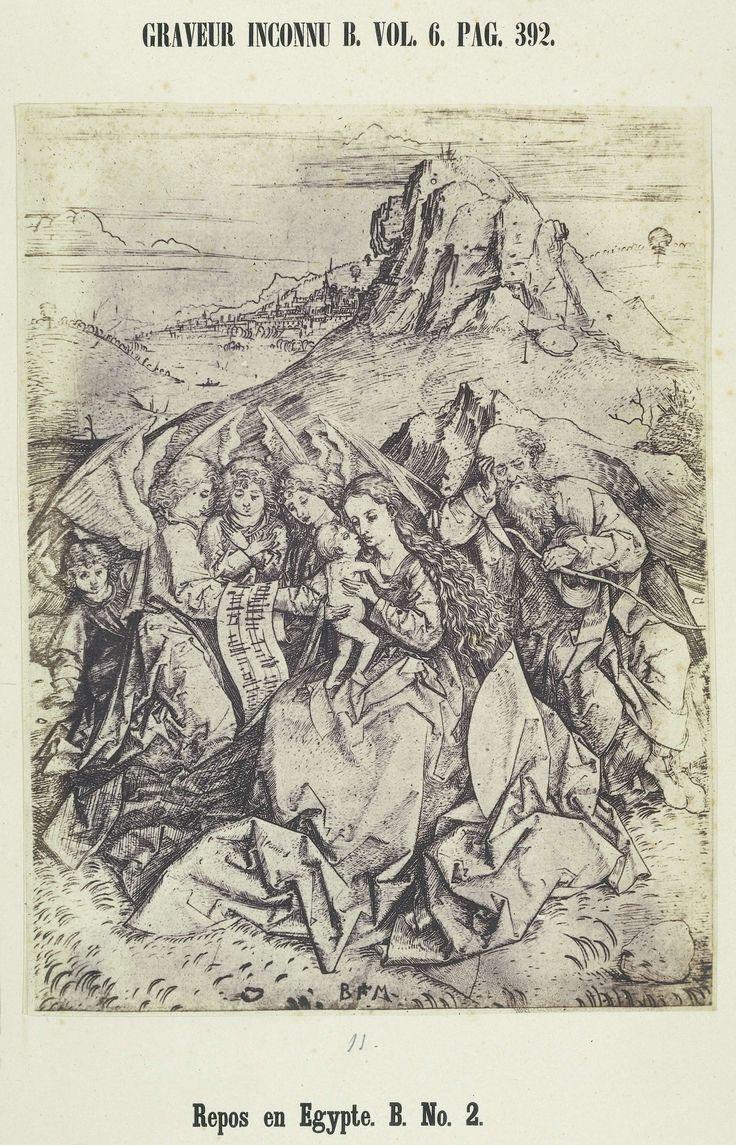Alois Löcherer | Fotoreproductie van een gravure door de monogrammist BM, 'Rust op de vlucht naar Egypte', Alois Löcherer, 1854 |